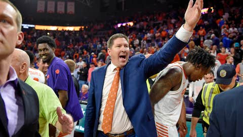 <p>               Clemson head coach Brad Brownell reacts after an NCAA college basketball game against Duke Tuesday, Jan. 14, 2020, in Clemson, S.C. Clemson won 79-72. (AP Photo/Richard Shiro)             </p>