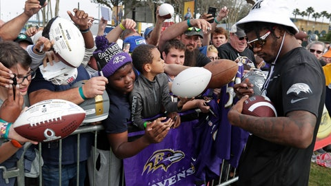 <p>               AFC quarterback Lamar Jackson, of the Baltimore Ravens, signs autographs during a practice for the NFL Pro Bowl football game Thursday, Jan. 23, 2020, in Kissimmee, Fla. (AP Photo/John Raoux)             </p>