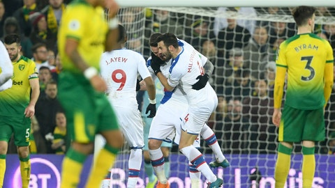 <p>               Crystal Palace's Connor Wickham, centre left,  celebrates scoring his side's first goal of the game against Norwich City during their English Premier League soccer match at Carrow Road in Norwich, England, Wednesday Jan. 1, 2020. (Joe Giddens/PA via AP)             </p>