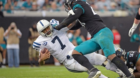 <p>               Jacksonville Jaguars linebacker Josh Allen, right, sacks Indianapolis Colts quarterback Jacoby Brissett (7) during the first half of an NFL football game, Sunday, Dec. 29, 2019, in Jacksonville, Fla. (AP Photo/Phelan M. Ebenhack)             </p>