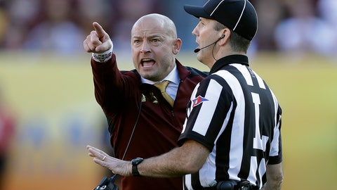<p>               Minnesota head coach P.J. Fleck points at the screen as he yells at line judge Jim Slayton during the second half of the Outback Bowl NCAA college football game against Auburn Wednesday, Jan. 1, 2020, in Tampa, Fla. (AP Photo/Chris O'Meara)             </p>