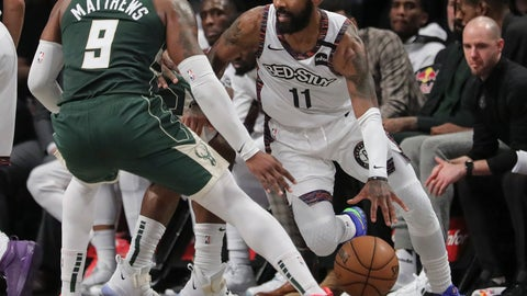 <p>               Brooklyn Nets Brooklyn Nets guard Kyrie Irving, right, drives on Milwaukee Bucks guard Wesley Matthews, left, during a NBA basketball game, Saturday, Jan. 18, 2020, in New York. (AP Photo/Bebeto Matthews)             </p>