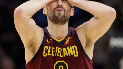 <p>               Cleveland Cavaliers' Kevin Love reacts after missing a three-point basket late in the second half of an NBA basketball game against the Charlotte Hornets, Thursday, Jan. 2, 2020, in Cleveland. (AP Photo/Tony Dejak)             </p>