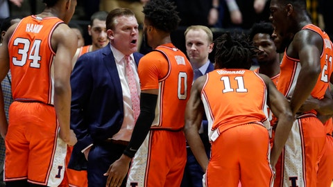 <p>               Illinois head coach Brad Underwood speaks with guard Alan Griffin (0) after being called for a foul during the first half of an NCAA college basketball game against Purdue in West Lafayette, Ind., Tuesday, Jan. 21, 2020. Griffin was ejected for the foul. (AP Photo/Michael Conroy)             </p>
