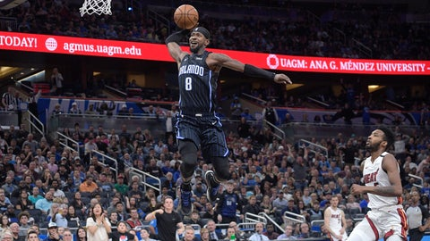 <p>               Orlando Magic guard Terrence Ross (8) goes up for a breakaway dunk in front of Miami Heat forward Derrick Jones Jr., right, during the second half of an NBA basketball game Friday, Jan. 3, 2020, in Orlando, Fla. (AP Photo/Phelan M. Ebenhack)             </p>