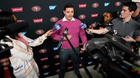<p>               San Francisco 49ers owner Jed York speaks to reporters after a practice at the team's NFL football training facility in Santa Clara, Calif., Friday, Jan. 24, 2020. The 49ers will face the Kansas City Chiefs in Super Bowl 54. (AP Photo/Tony Avelar)             </p>