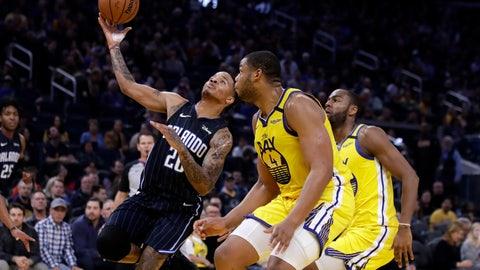 <p>               Orlando Magic's Markelle Fultz, left, shoots past Golden State Warriors' Omari Spellman, right, during the first half of an NBA basketball game Saturday, Jan. 18, 2020, in San Francisco. (AP Photo/Ben Margot)             </p>
