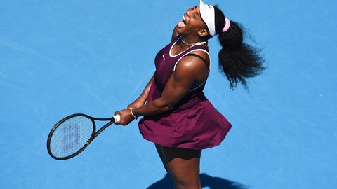 <p>               Serena Williams of the U.S. reacts after winning a point during her second round singles match against her compatriot Christina McHale at the ASB Classic tennis tournament in Auckland, New Zealand, Thursday, Jan 9, 2020. (Chris Symes/Photosport via AP)             </p>