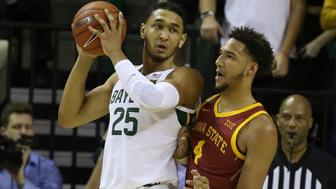 <p>               Baylor forward Tristan Clark (25) is guarded by Iowa State forward George Conditt IV (4) during the second half half of an NCAA college basketball game Wednesday Jan. 15, 2020, in Waco, Texas. (AP Photo/Jerry Larson)             </p>