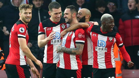 <p>               Southampton's Danny Ings, centre, celebrates with teammates after scoring his side's first goal during the English Premier League soccer match between Southampton and Tottenham Hotspur at St Mary's Stadium, in Southampton, England, Wednesday Jan. 1, 2020. (Mark Kerton/PA via AP)             </p>