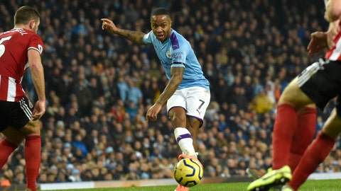 <p>               Manchester City's Raheem Sterling takes a shot during the English Premier League soccer match between Manchester City and Sheffield United at Etihad stadium in Manchester, England, Sunday, Dec. 29, 2019. (AP Photo/Rui Vieira)             </p>