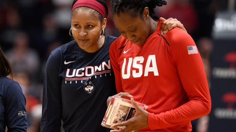 <p>               Minnesota Lynx and former Connecticut player Maya Moore, left, puts her arm around former Connecticut teammate and New York Liberty player Tina Charles during a ceremony honoring their championship team before an exhibition basketball game between Connecticut and the United States, Monday, Jan. 27, 2020, in Hartford, Conn. (AP Photo/Jessica Hill)             </p>