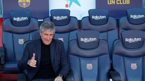 <p>               Quique Setien poses on the bench after being officially introduced as the new soccer coach of FC Barcelona at the Camp Nou stadium in Barcelona, Spain, Tuesday, Jan. 14, 2020. Barcelona made a rare coaching change midway through the season, replacing Ernesto Valverde with former Real Betis manager Quique Setien on Monday. (AP Photo/Emilio Morenatti)             </p>