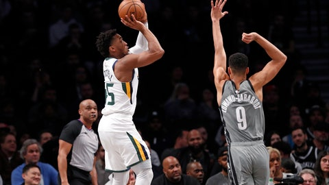 <p>               Utah Jazz guard Donovan Mitchell (45) shoots with Brooklyn Nets guard Timothe Luwawu-Cabarrot (9) defending during the second quarter of an NBA basketball game Tuesday, Jan. 14, 2020, in New York. (AP Photo/Kathy Willens)             </p>