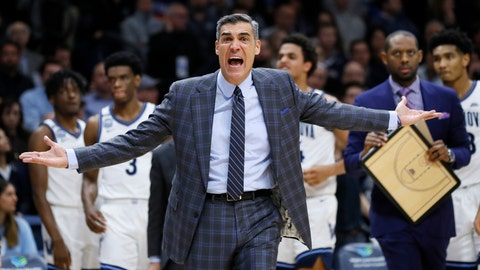 <p>               Villanova head coach Jay Wright reacts to a call during the first half of an NCAA college basketball game against DePaul, Tuesday, Jan. 14, 2020, in Villanova, Pa. (AP Photo/Matt Slocum)             </p>