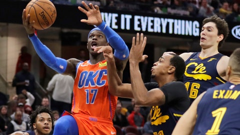 <p>               Oklahoma City Thunder's Dennis Schroder (17) drives against Cleveland Cavaliers' John Henson (31) in the second half of an NBA basketball game, Saturday, Jan. 4, 2020, in Cleveland. Oklahoma won 121-106. (AP Photo/Tony Dejak)             </p>