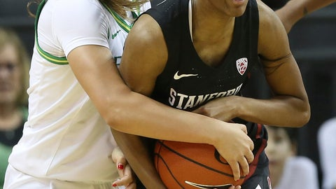 <p>               Oregon's Taylor Chavez, left, and Stanford's Kiana Williams struggle for the ball during the second quarter of an NCAA college basketball game in Eugene, Ore., Thursday, Jan. 16, 2020. (AP Photo/Chris Pietsch)             </p>