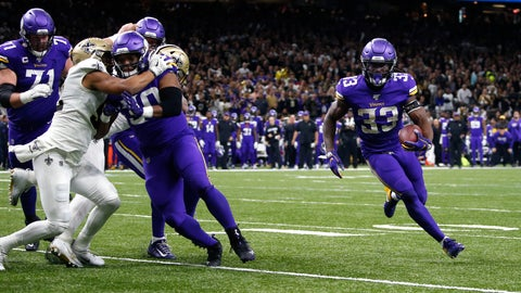 <p>               Minnesota Vikings running back Dalvin Cook (33) carries near the goal line in the first half of an NFL wild-card playoff football game against the New Orleans Saints, Sunday, Jan. 5, 2020, in New Orleans. (AP Photo/Butch Dill)             </p>