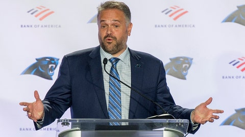 <p>               Carolina Panthers NFL football team new head coach Matt Rhule talks to the media during a news conference at the teams practice facility, Wednesday, Jan. 8, 2020, in Charlotte, N.C. (AP Photo/Mike McCarn)             </p>