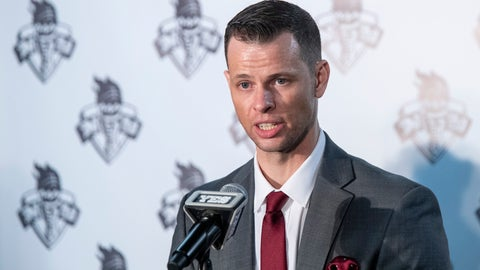 <p>               New York Liberty WNBA basketball team new head coach Walt Hopkins speaks to reporters during a news conference at Barclays Center, Wednesday, Jan. 8, 2020, in New York. (AP Photo/Mary Altaffer)             </p>