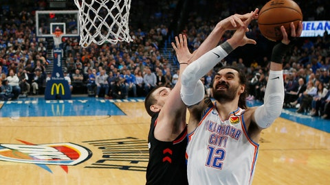 <p>               Oklahoma City Thunder center Steven Adams (12) goes to the basket in front of Toronto Raptors center Marc Gasol, left, during the first half of an NBA basketball game Wednesday, Jan. 15, 2020, in Oklahoma City. (AP Photo/Sue Ogrocki)             </p>