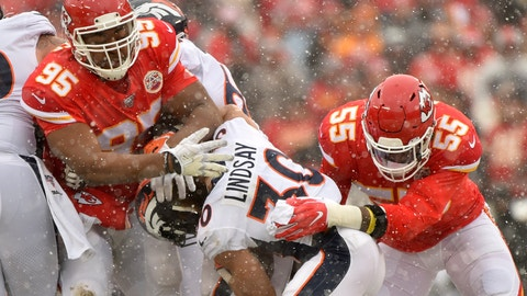 <p>               Kansas City Chiefs defensive tackle Chris Jones (95) and defensive end Frank Clark (55) tackle Denver Broncos running back Phillip Lindsay (30) during the first half of an NFL football game in Kansas City, Mo., Sunday, Dec. 15, 2019. (AP Photo/Ed Zurga)             </p>