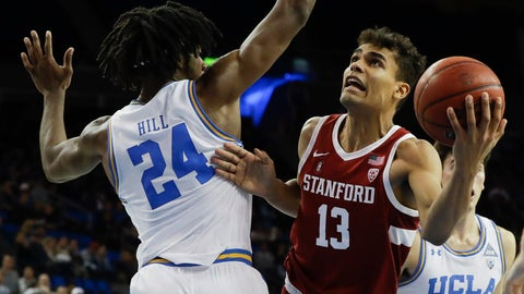 <p>               Stanford forward Oscar da Silva shoots around UCLA forward Jalen Hill during the first half of an NCAA college basketball game in Los Angeles, Wednesday, Jan. 15, 2020. (AP Photo/Chris Carlson)             </p>