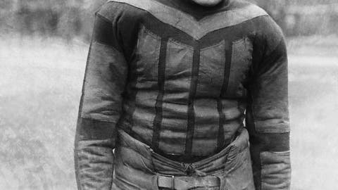 "<p>               This undated file photo shows football player Harold ""Red"" Grange. From the crude, oblong leather helmets to the sparsely padded brown and blue vertical-striped uniforms of the Chicago Bears, it's easy to see how equipment has drastically evolved in the NFL since the days of The Galloping Ghost in the 1920s and '30s. From their heads to their toes, the players' looks through the decades have changed so much, it's tough to believe it's all the same sport. (AP Photo)             </p>"