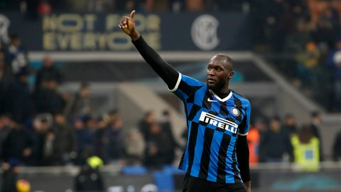 <p>               Inter Milan's Romelu Lukaku waves to supporters at the end of the an Italian Cup soccer match between Inter Milan and Cagliari at the San Siro stadium, in Milan, Italy, Tuesday, Jan. 14, 2020. (AP Photo/Antonio Calanni)             </p>