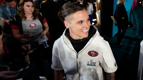 <p>               San Francisco 49ers assistant coach Katie Sowers speaks to reporters during Opening Night for the NFL Super Bowl 54 football game Monday, Jan. 27, 2020, at Marlins Park in Miami. (AP Photo/David J. Phillip)             </p>
