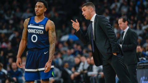 <p>               Minnesota Timberwolves head coach Ryan Saunders, right, talks with Minnesota Timberwolves guard Jeff Teague during a break in the action against the Brooklyn Nets during the second half of an NBA basketball game Monday, Dec. 30, 2019, in Minneapolis. (AP Photo/Craig Lassig)             </p>