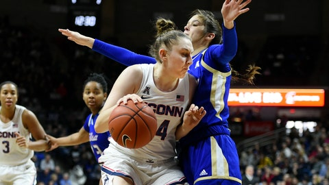 <p>               Connecticut's Anna Makurat (24) tries to get around Tulsa's Addison Richards (4) during the first half of an NCAA college basketball game Sunday, Jan. 19, 2020, in Storrs, Conn. (AP Photo/Stephen Dunn)             </p>