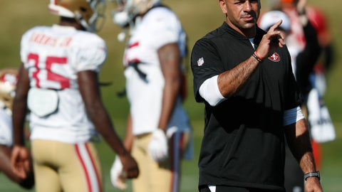<p>               FILE - In this Aug. 17, 2019 file photo, San Francisco 49ers defensive coordinator Robert Saleh directs players during a combined NFL training camp with the Denver Broncos at the Broncos' headquarters in Englewood, Colo.  The Cleveland Browns are meeting with Saleh about their coaching job. Saleh's defense dominated Cleveland in a game this season. Browns owner Jimmy Haslam and members of the team's search committee will interview Saleh on Saturday, Jan. 4, 2020.(AP Photo/David Zalubowski, File)             </p>