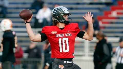 <p>               Oregon's Justin Herbert of the South squad runs drills during practice for the Senior Bowl college football game, Wednesday, Jan. 22, 2020, in Mobile, Ala. (AP Photo/Butch Dill)             </p>