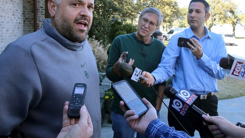 <p>               Former Baylor head football coach Matt Rhule speaks to reporters outside his home Tuesday Jan. 7, 2020, in Waco, Texas.  According to a person familiar with the situation, the Carolina Panthers are completing a contract to hire Baylor's Matt Rhule as their coach. The Panthers have not spoken publicly about the coaching search. (Jerry Larson/Waco Tribune-Herald via AP)             </p>