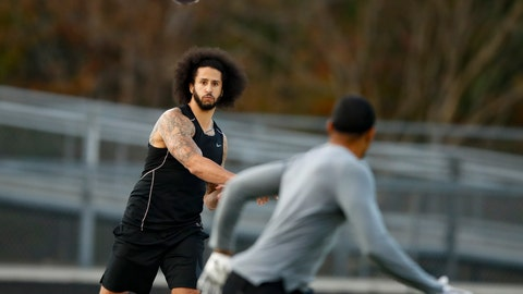 <p>               File-This Nov. 16, 2019, file photo shows free agent quarterback Colin Kaepernick participating in a workout for NFL football scouts and media, in Riverdale, Ga. Kaepernick's tryout: scouts dispatched, A busted play, with strings attached. (AP Photo/Todd Kirkland, File)             </p>
