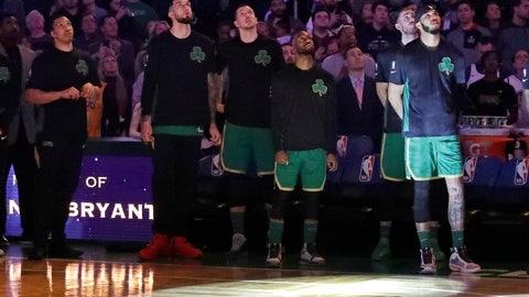 <p>               Boston Celtics players look top at a video tribute to the late Los Angeles Laker Kobe Bryant, before an NBA basketball game against the Golden State Warriors, Thursday, Jan. 30, 2020, in Boston. (AP Photo/Elise Amendola)             </p>
