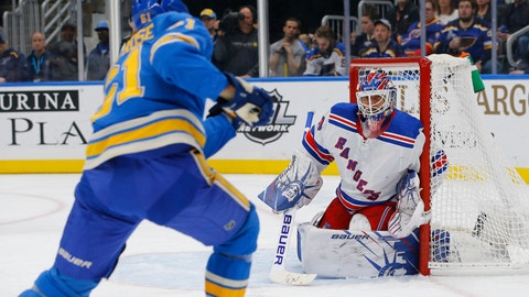 <p>               New York Rangers goaltender Henrik Lundqvist, of Sweden, defends a shot from St. Louis Blues' Jacob de la Rose, of Sweden, during the second period of an NHL hockey game Saturday, Jan. 11, 2020, in St. Louis. (AP Photo/Billy Hurst)             </p>