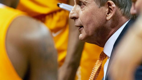 <p>               Tennessee head coach Rick Barnes talks with players during a timeout in the second half of an NCAA college basketball game against Missouri Tuesday, Jan. 7, 2020, in Columbia, Mo. Tennessee won the game 69-59. (AP Photo/L.G. Patterson)             </p>