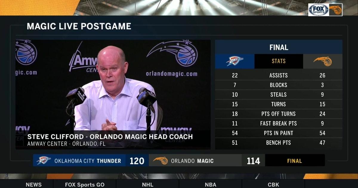 Magic coach Steve Clifford breaks down home loss to Thunder