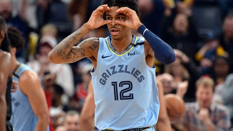 <p>               Memphis Grizzlies guard Ja Morant reacts after an assist in the first half of the team's NBA basketball game against the Houston Rockets on Tuesday, Jan. 14, 2020, in Memphis, Tenn. (AP Photo/Brandon Dill)             </p>