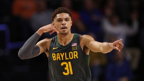 <p>               Baylor guard MaCio Teague (31) celebrates after making a basket against the Florida during the first half of an NCAA college basketball game Saturday, Jan. 25, 2020, in Gainesville, Fla. (AP Photo/Matt Stamey)             </p>