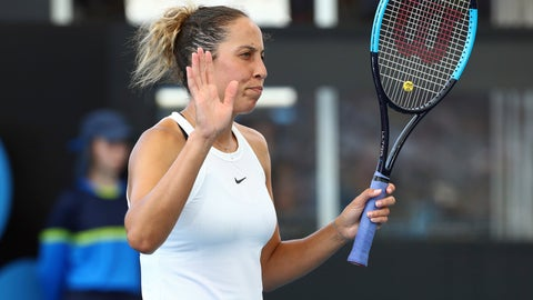 <p>               Madison Keys of the United States reacts after winning a point during her match against Samantha Stosur of Australia at the Brisbane International tennis tournament in Brisbane, Australia, Wednesday, Jan. 8, 2020. (AP Photo/Tertius Pickard)             </p>