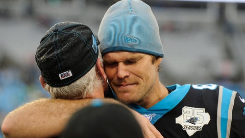 <p>               Carolina Panthers tight end Greg Olsen (88) hugs tight end coach Pete Hoener following an NFL football game against the New Orleans Saints in Charlotte, N.C., Sunday, Dec. 29, 2019. (AP Photo/Mike McCarn)             </p>