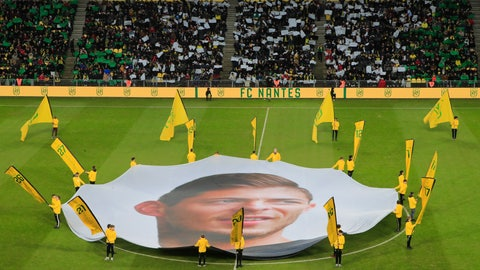 <p>               A giant canvas showing late Argentinian player Emiliano Sala is pictured in La Beaujoire stadium prior the French League One soccer match between Nantes against Bordeaux in Nantes, western France, Sunday, Jan. 26, 2020. Nantes paid an emotional tribute to Emiliano Sala by wearing a special blue and white (AP Photo/Michel Euler)             </p>
