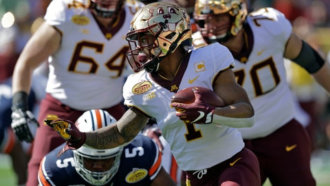 <p>               Minnesota running back Rodney Smith (1) runs past Auburn defensive tackle Derrick Brown (5) during the first half of the Outback Bowl NCAA college football game Wednesday, Jan. 1, 2020, in Tampa, Fla. (AP Photo/Chris O'Meara)             </p>