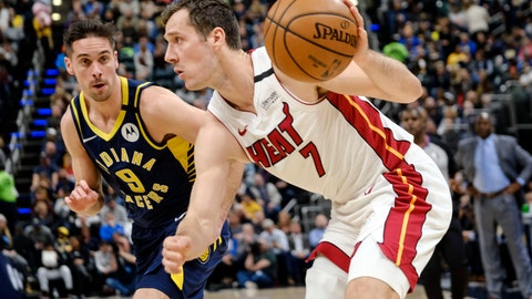 <p>               Miami Heat guard Goran Dragic (7) drives in front of Indiana Pacers guard T.J. McConnell (9) during the first half of an NBA basketball game in Indianapolis, Wednesday, Jan. 8, 2020. (AP Photo/AJ Mast)             </p>