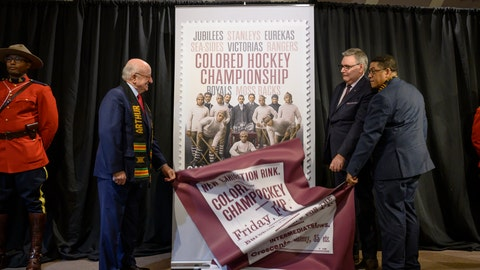 <p>               From left, Arthur J. LeBlanc, Lt. Gov. of Nova Scotia, Doug Ettinger, President and CEO of Canada Post, and Craig Smith, President of The Black Cultural Society, unveil Canada Post's stamp honouring the Colored Hockey Championship and the all-Black hockey teams in the Maritimes between 1895 and the early 1930s during an event at the Black Cultural Center in Halifax, Nova Scotia, Thursday, Jan. 23, 2020. (Darren Calabrese/The Canadian Press via AP)             </p>