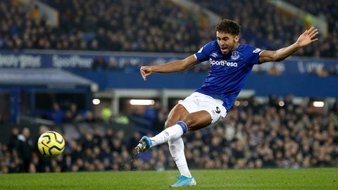 <p>               Everton's Dominic Calvert-Lewin scores his side's second goal of the game against Newcastle United during their English Premier League soccer match at Goodison Park in Liverpool, England, Tuesday Jan. 21, 2020. (Martin Rickett/PA via AP)             </p>