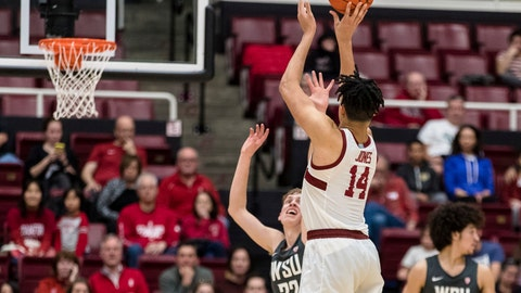 <p>               Stanford forward Spencer Jones (14) shoots against Washington State during the second half of an NCAA college basketball game Saturday, Jan. 11, 2020, in Stanford, Calif. (AP Photo/John Hefti)             </p>